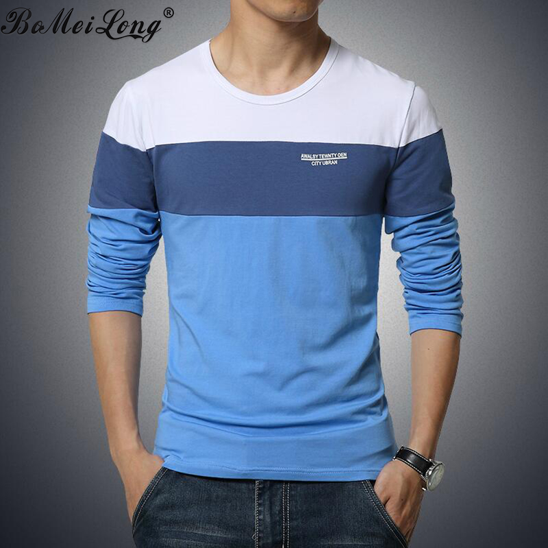 Mens Long T Shirts Fashion 2015 Hit Color Patchwork T-Shirt Men O ...