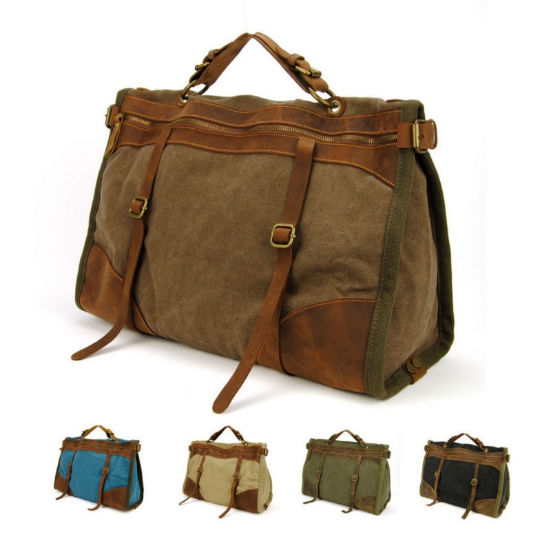 Vintage Retro military Canvas   Leather men travel bags men ...