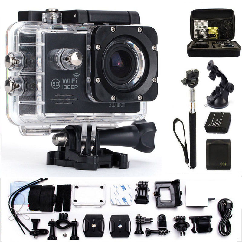 Action Camera gopro hero 4 style Waterproof 30m wifi 170 degrees 1080p 30fps Outdoor Sport Activities video Camera