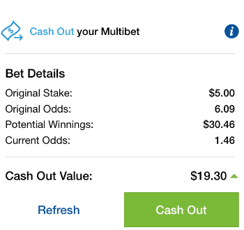 cashing out on a multi bet