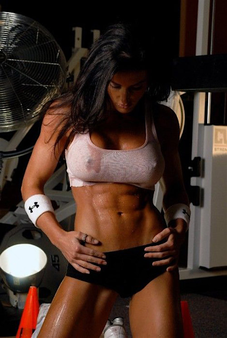 Hot sports babe gym junkies hottie sweating abs and nipples