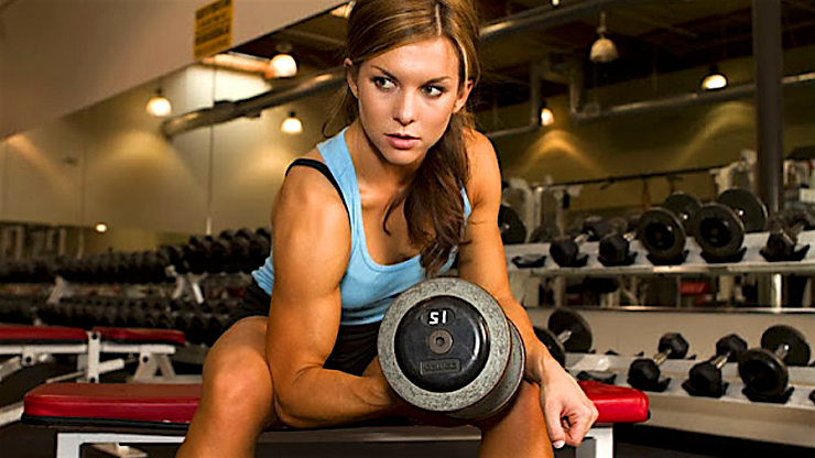 hot sport babes gym dumbell