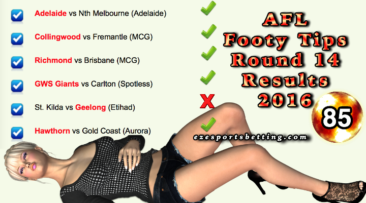 AFL Round 14 Results 2016 Fortuna Lady Luck