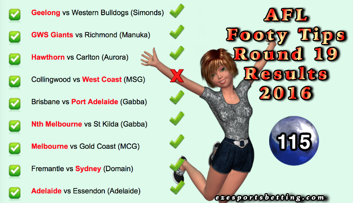 Fortuna's AFL Round 19 Results